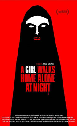 A GIRL WALKS AT HOME ALONE AT NIGHT