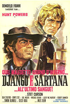 locandina del film QUEL MALEDETTO GIORNO D'INVERNO... DJANGO E SARTANA ALL'ULTIMO SANGUE!
