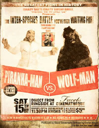 locandina del film WOLF MAN VS. PIRANHA MAN: HOWL OF THE PIRANHA